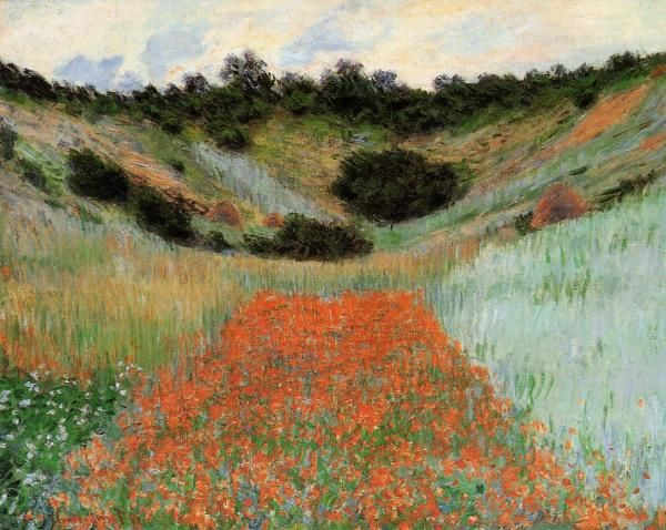 Poppy Field in a Hollow near Giverny, Claude Monet 1885, oil on canvas , Museum of Fine Arts, Boston, Massachusetts USA.