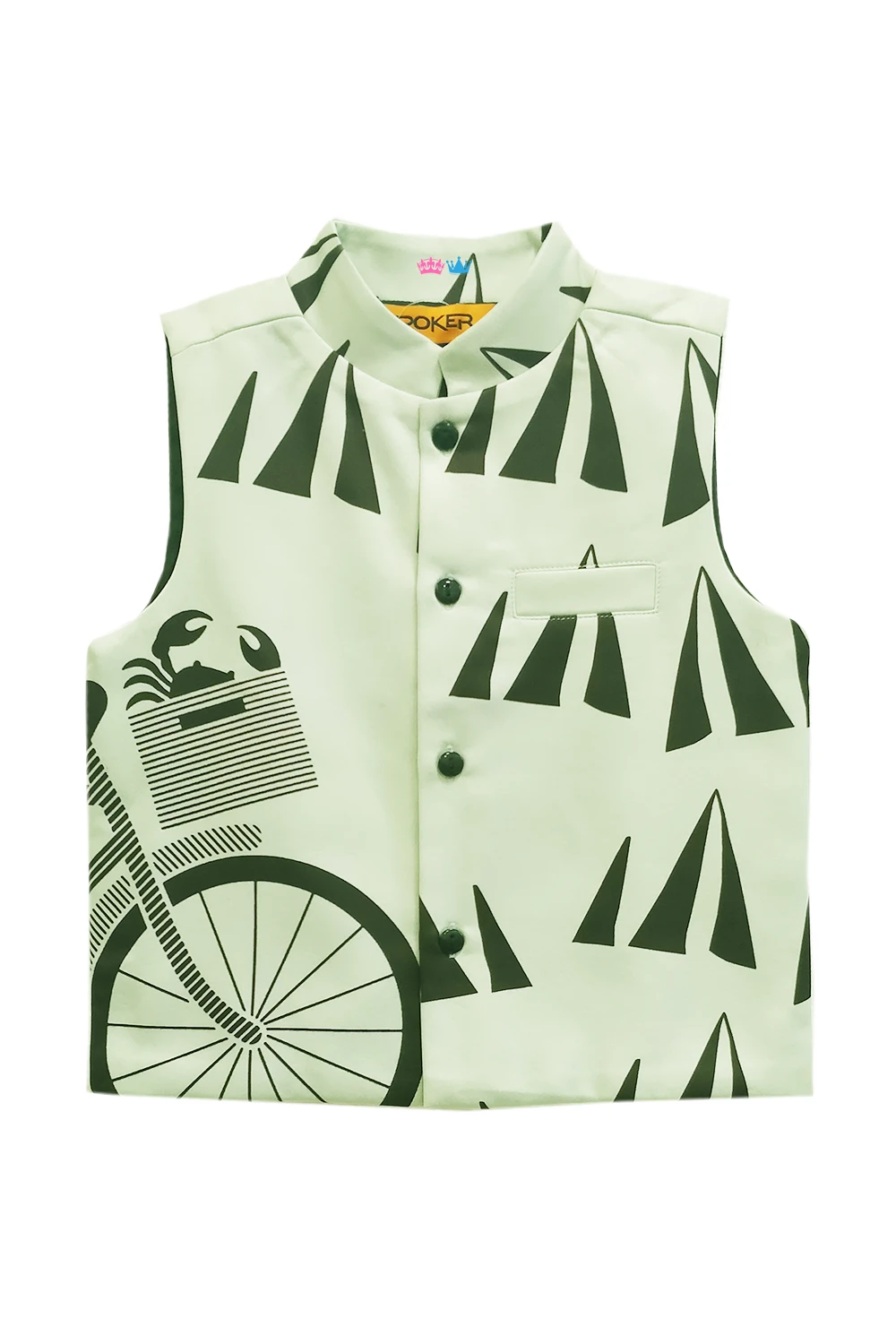 Band Neck Cycle Printed Nehru Jacket Boys clothes style