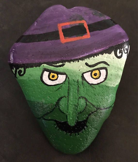 Green Candy Corn Witch Painted Rock Collectible & Halloween