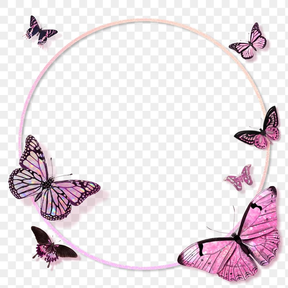 Circle Pink Butterfly Frame Design Element Premium Image By Rawpixel Com Techi Butterfly Frame Pink Butterfly Frame Design