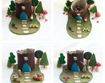 Fairy House Turquoise Blue Door Tree Stump Cottage Playscape Play Mat - wool felt storytelling storybook fairytale - Dollhouse woodland toy