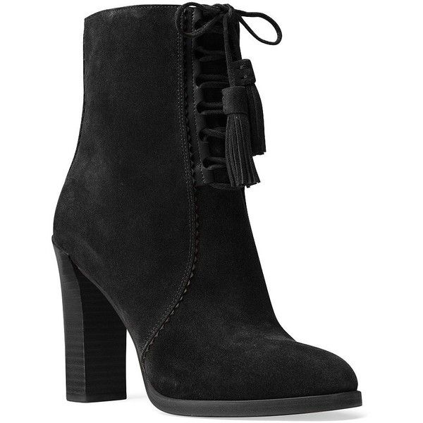 Michael Kors Collection Odile Suede Lace-Up Booties (480 BRL) ❤ liked on Polyvore featuring shoes, boots, ankle booties, black, black booties, black lace up booties, suede lace-up booties, laced up ankle boots and black suede bootie