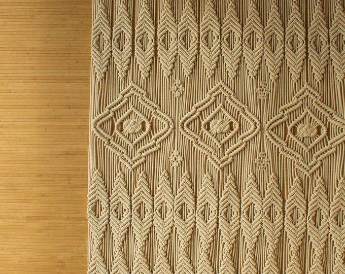 Tejido de tapicería de pared grande grande macrame colgante   Etsy