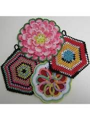 Crochet decorative pot holders with these stash-busting patterns! Pattern set includes 4 double-sided pot holders.
