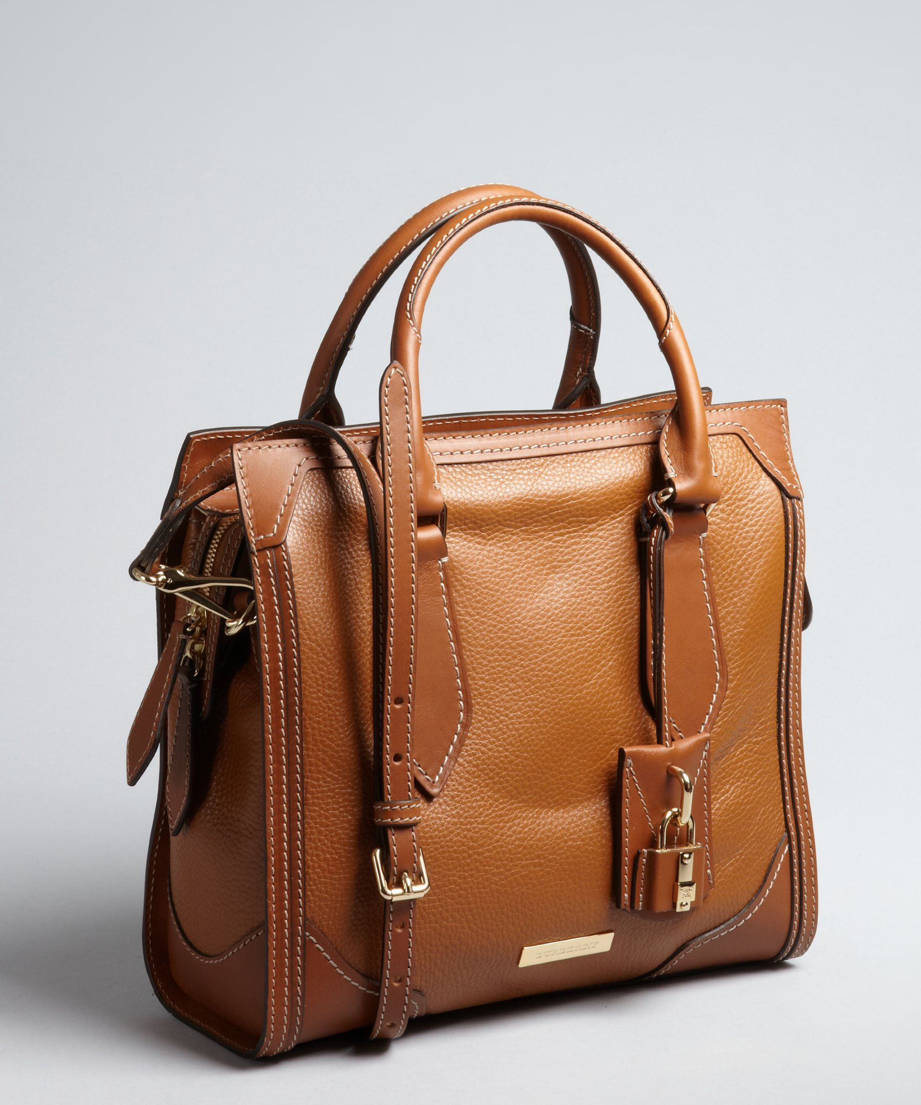 Burberry tan grained leather square convertible satchel | BLUEFLY up to 70% off designer brands