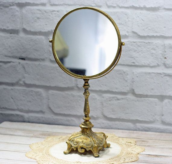 Great Vintage Vanity Table Mirror Two Sided Mirror Ornate Pedestal Stand Gold  Tone Baroque Style