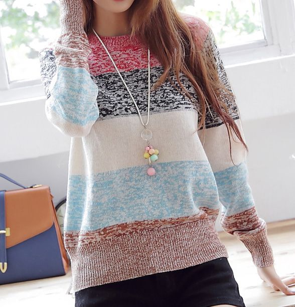 Sweet Striped Pullover Knitted