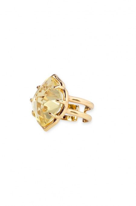Exquisite canary-colored glass stone cocktail ring in modern, marquise-shaped setting. Arabesque Cocktail Ring | $29 | Stella & Dot