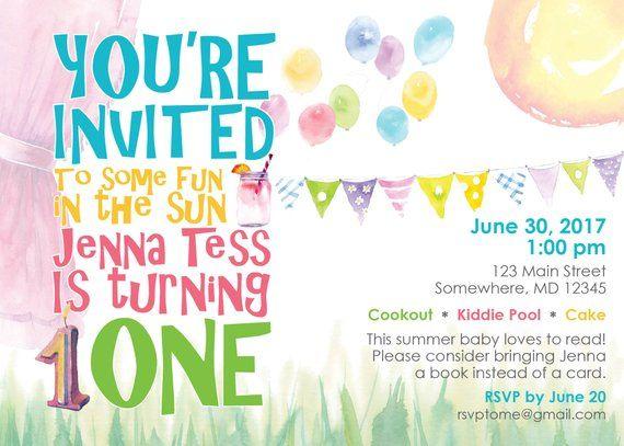 first birthday summer invitation templates party invitation ideas