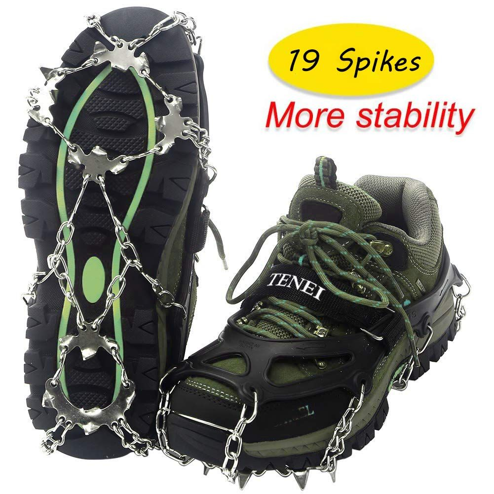 Traction Cleats Ice Snow Grips Ice Cleats With 19 Spikes For Walking Jogging Climbing And Hiking On Snow Ice Fishing Boots Ice Cleats Mountaineering Boots
