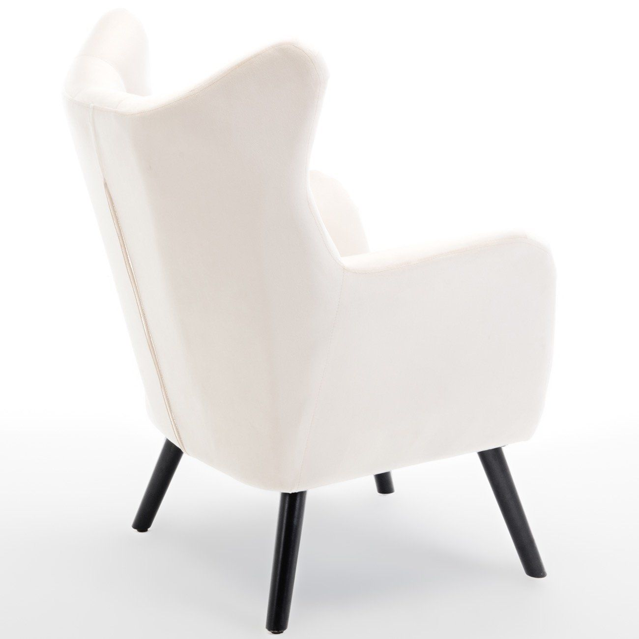 Accent Chair Mid Height Tufted Back And Curved Arms: Belleze Wing Back Mid Century Button Tufted Chair Wood