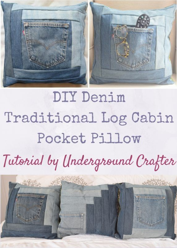 Diy denim traditional log cabin pocket pillow tutorial by diy denim traditional log cabin pocket pillow tutorial by underground crafter grab some jeans headed for the scrap pile and make yourself a plush solutioingenieria Images