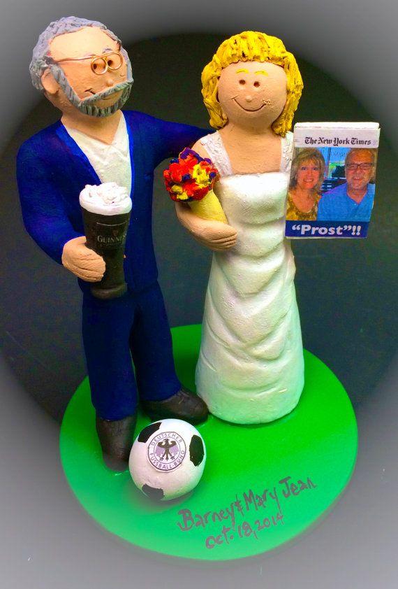 Custom Bride and Groom Football Fans Wedding Cake Topper,Wedding Cake Topper WeddingAnniversary Keepsake Custom Cake Topper Personalized