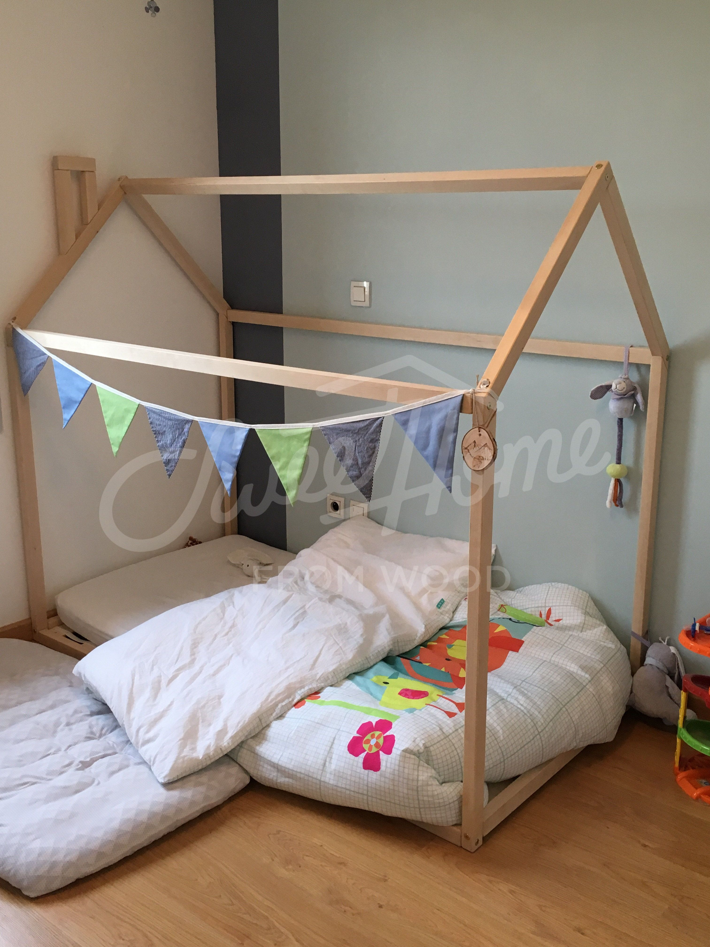 Toddler Bed House Shaped Bed Loft Bed Nursery Wood House Bed Home Montessori Toy Frame Bed Original Bed Home Bed Developing Toy Slats House Beds Kids Room Accessories Kids Bed Frames