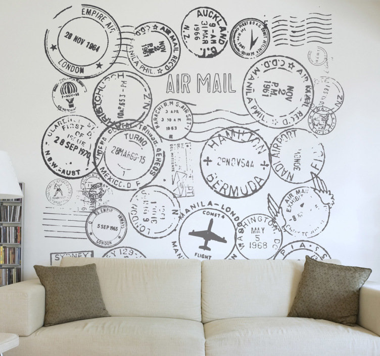 Do You Like To Travel Show It Off To Your Guests With This Travel Decal Illustrating A Collection O Travel Themed Bedroom Travel Themed Room Travel Wall Decor