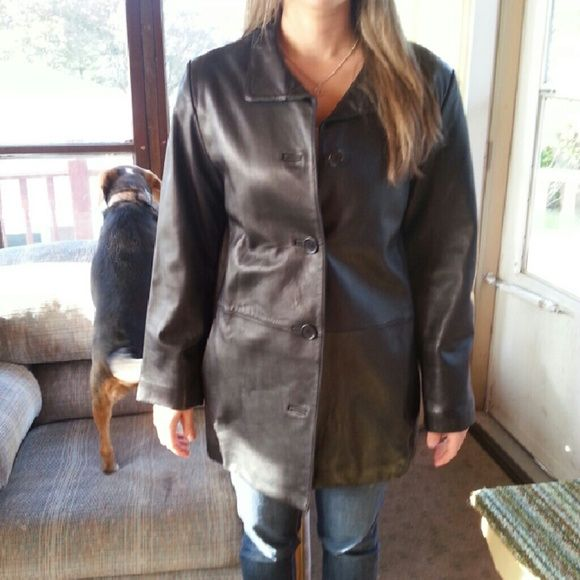 Fall Leather Jacket Button down Leather jacket that's great for fall or spring. Liz Claiborne Jackets & Coats