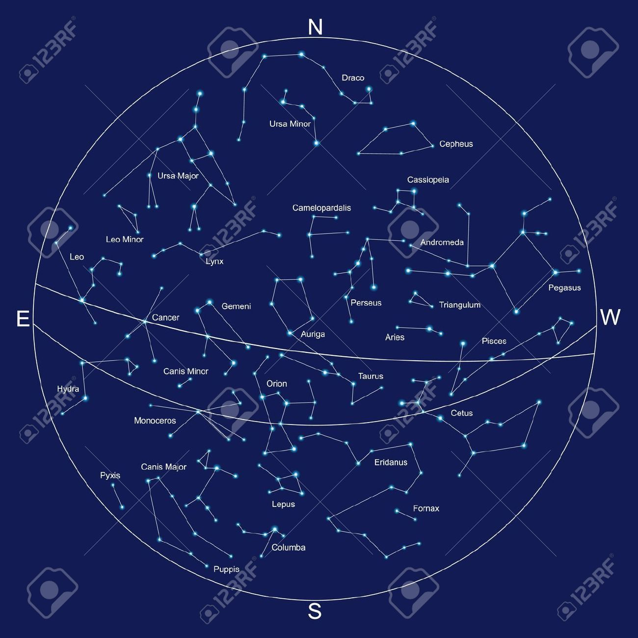 constellations sky map and constellations with titles