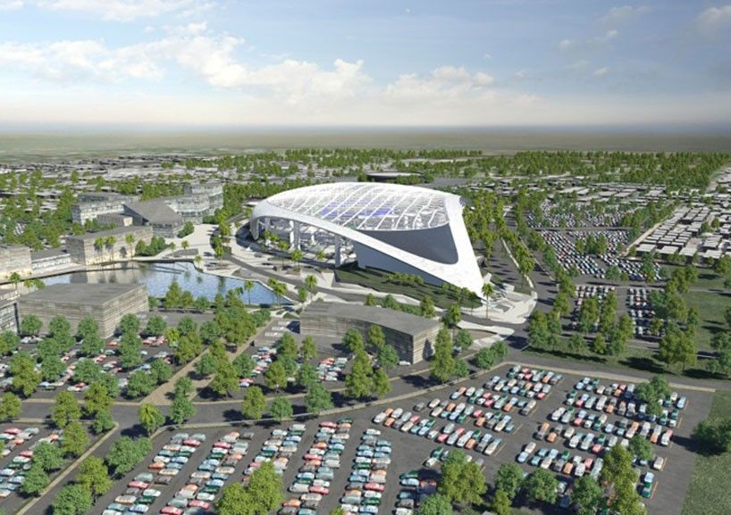 Nfl Announces Vast New Stadium In L A Topped With 19 Acre Roof Los Angeles Rams Entertainment District Football Stadiums