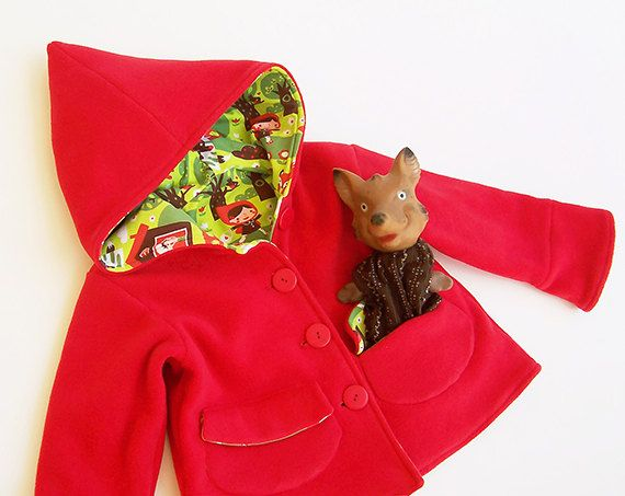 LITTLE RED Riding Hood Girl Jacket pattern Pdf sewing, Coat Long Sleeve Knit Fleece Woven Jacket, toddler baby 2 – 9 years