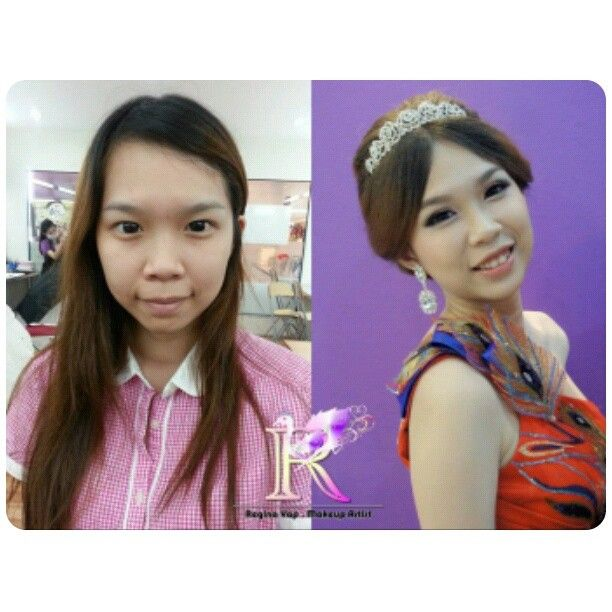 Wedding day makeup & hairdo, before and after. Bride: Nicole #bridal #hairdo #makeup