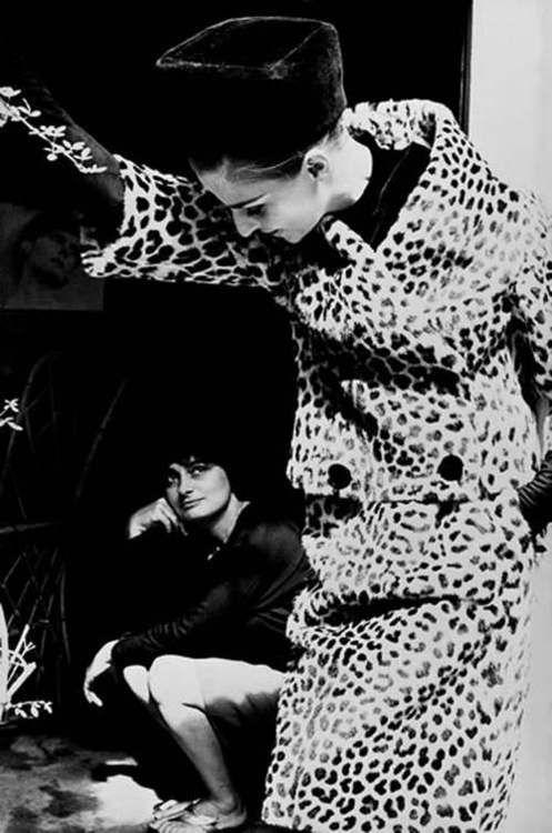 Model Iris Bianchi wearing a leopard print suit with Agnes Varda for Harper's Bazaar, Paris, 1962. Photo by Frank Horvat.