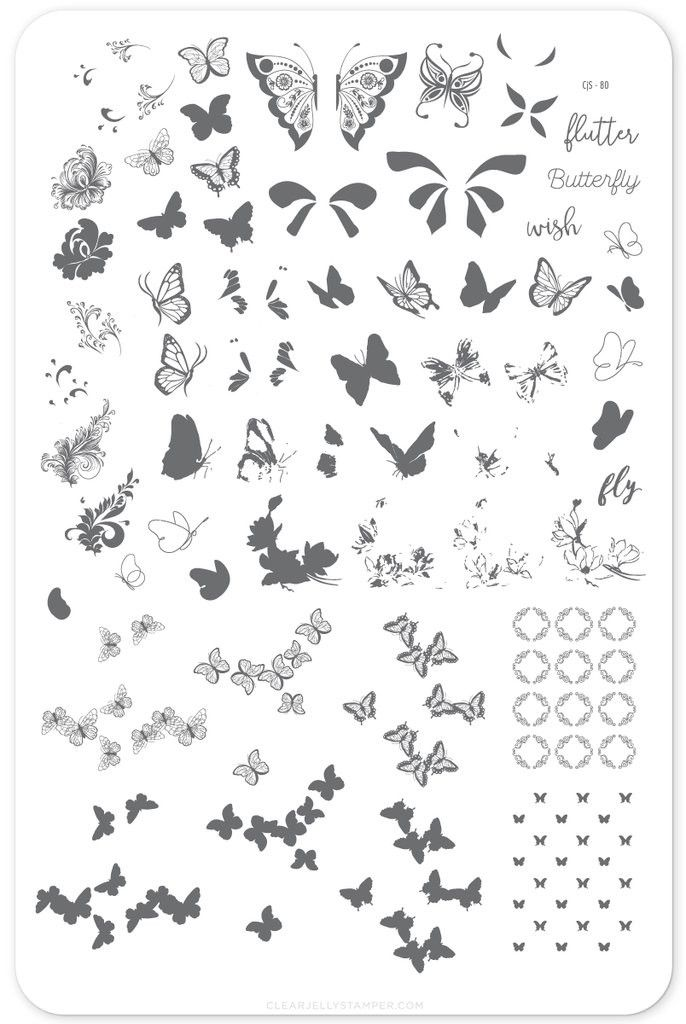 New!!! 'butterfly Wishes' Layered Stamping Plate Cjs-80 New!!! 'butterfly Wishes' Layered Stamping Plate Cjs-80 Nail Stamping nail stamping layers
