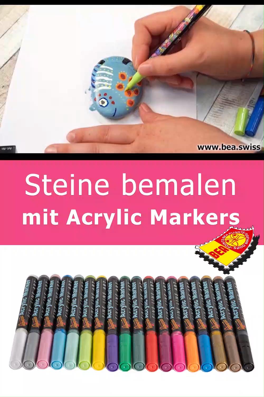 Steine bemalen mit Acrylic Markers #bastelnmitsteinen