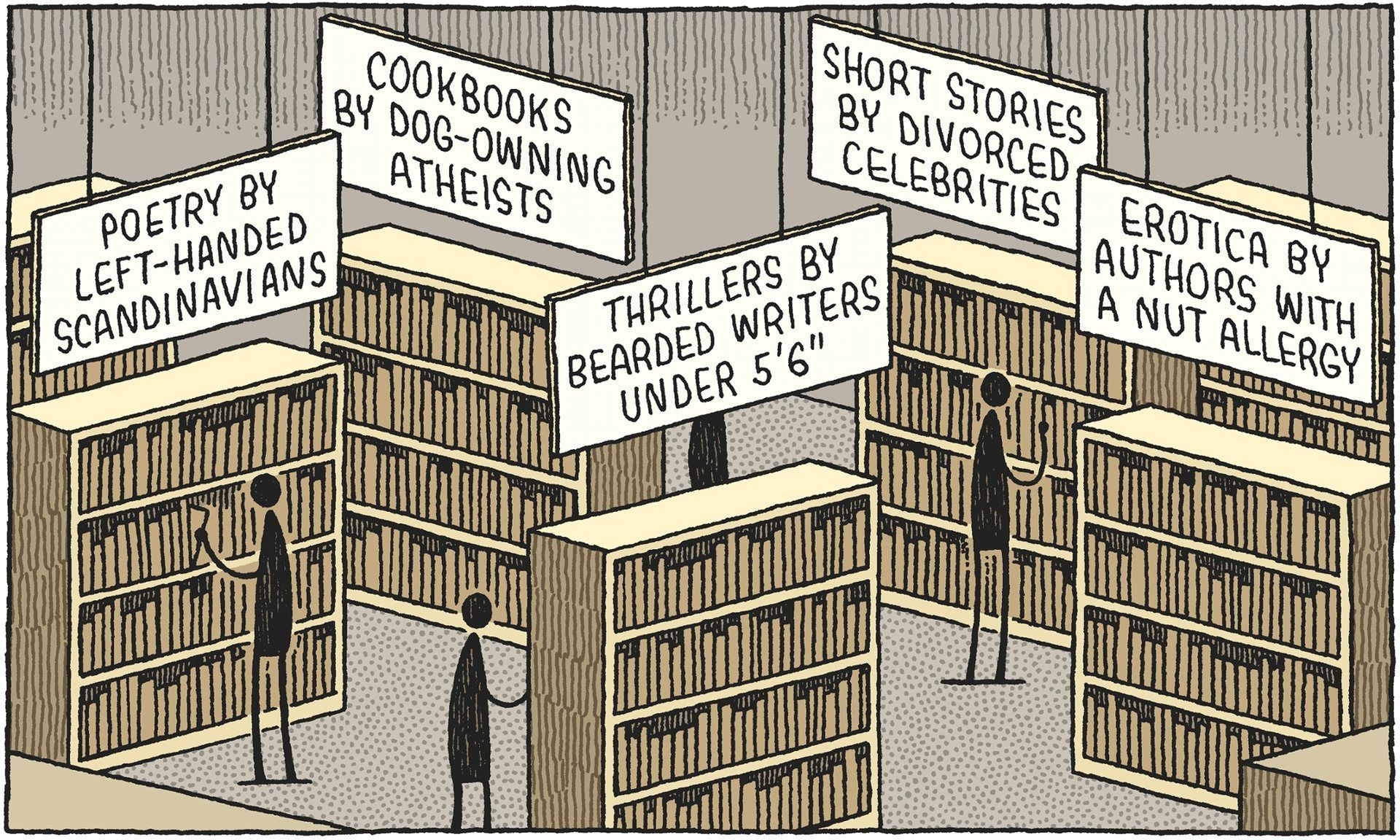 An essay by Aminatta Forna on the pigeonholing of writers was the  inspiration for this scenario. Illustration: Tom Gauld | Library cartoon,  Books, Jealous of me