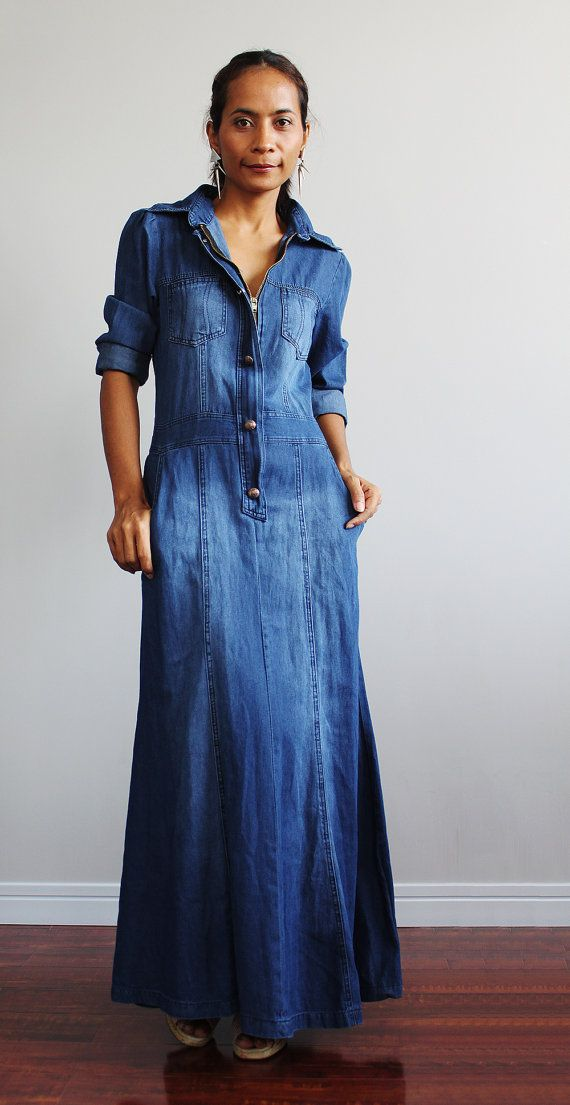 Denim Maxi Dress Long Sleeved Dress Urban Chic by Nuichan  8790e0c9dae1