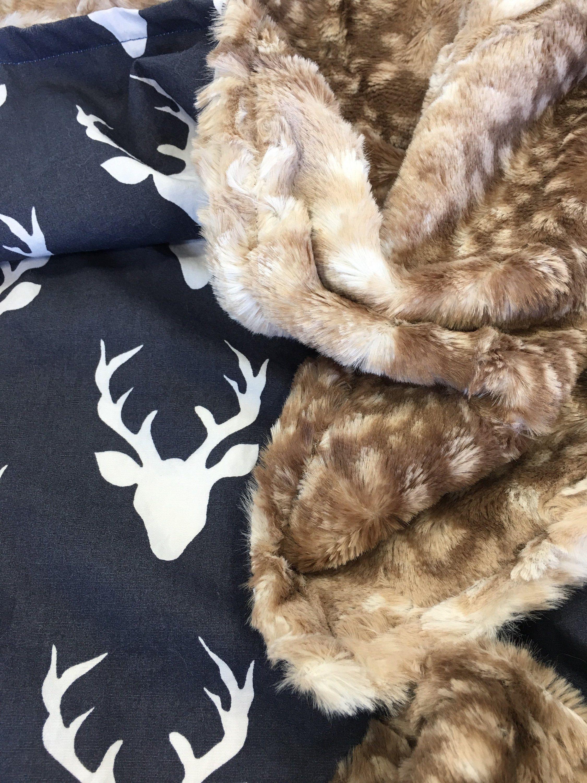 Baby Security Blanket Rustic Deer Lovie Woodland Deer Fawn Minky Lovey Minky Lovey Lovey Deer Forest Fawn Faux Fur Lovie Faux Fur Fawn
