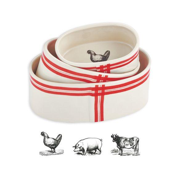 Farm Animal Oval Ramekins, Set of 3   Magenta – Wholesale Home Decor ...