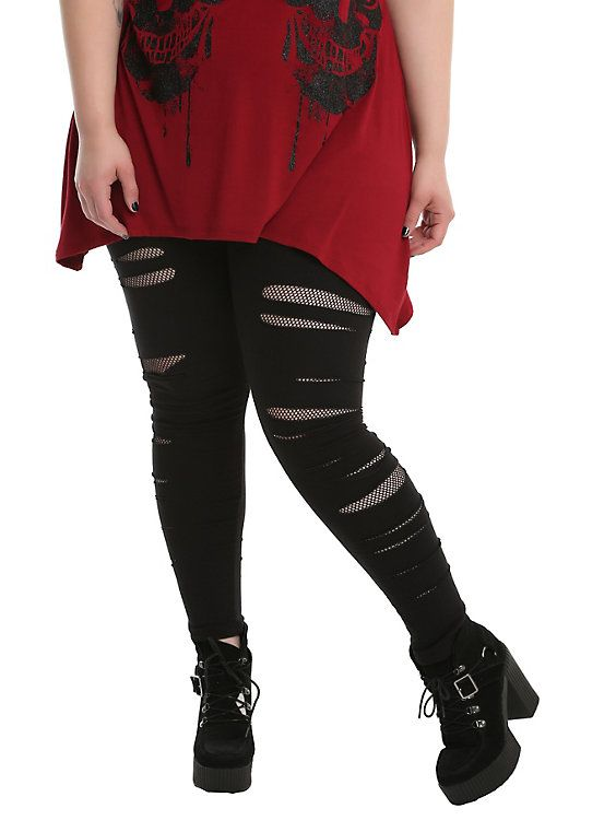 eb52139392a18 Black Shredded Fishnet Leggings Plus Size   Clothes and Jewelry that ...
