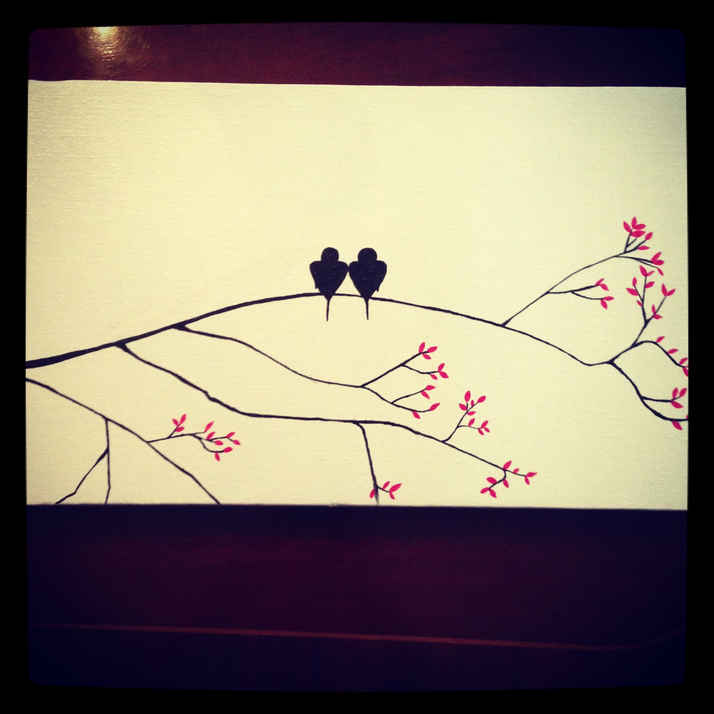 Lovebirds! Simple painting on long canvas | for the 20 something\'s ...