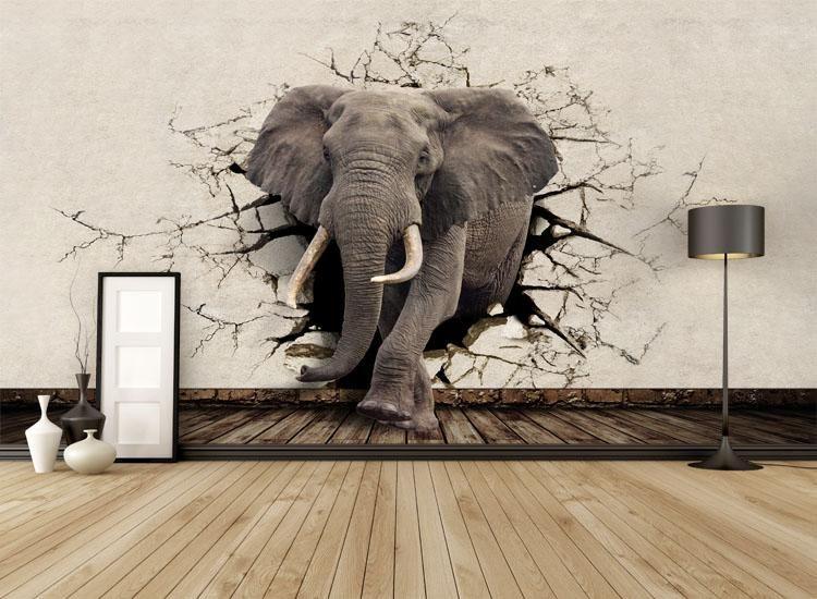 Custom 3d Elephant Wall Mural Personalized Giant Photo Wallpaper Interior Decoration Mural Animal World Wallpaper Kids Room Decor Wall Art Wallpapers Hq Widescr Animal Mural Wall Art Wallpaper Wall Murals