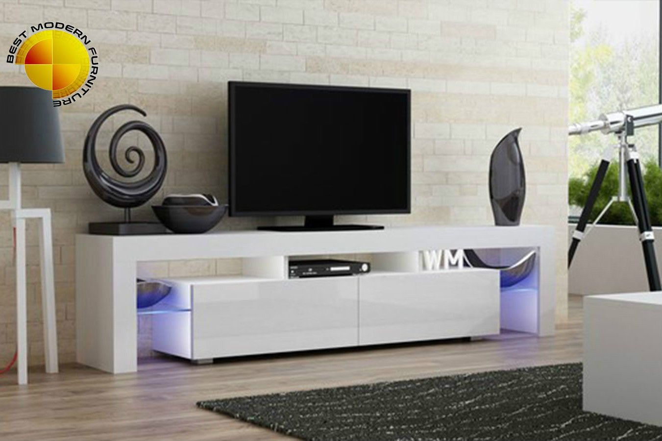 Modern Tv Stand 200cm High Gloss Cabinet Free Rgb Led Lights Black White Unit Ebay