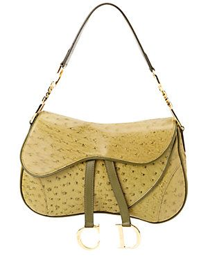 570485a24799 Christian Dior Green Ostrich Leather Double Saddle Bag  700.00 ...
