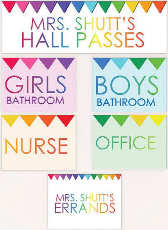 Student Hall Passes - PRINTABLE CUSTOMIZED - Girls Boys Nurse Office