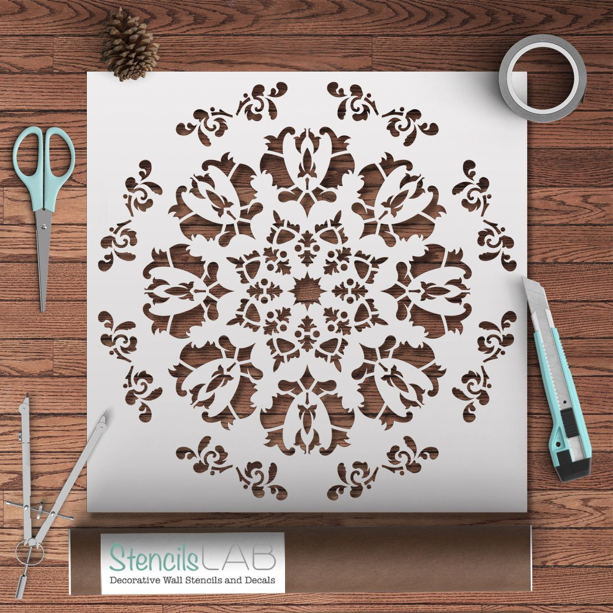 Decorative Wall Stencils floral medallion large: reusable wall stencils - decorative