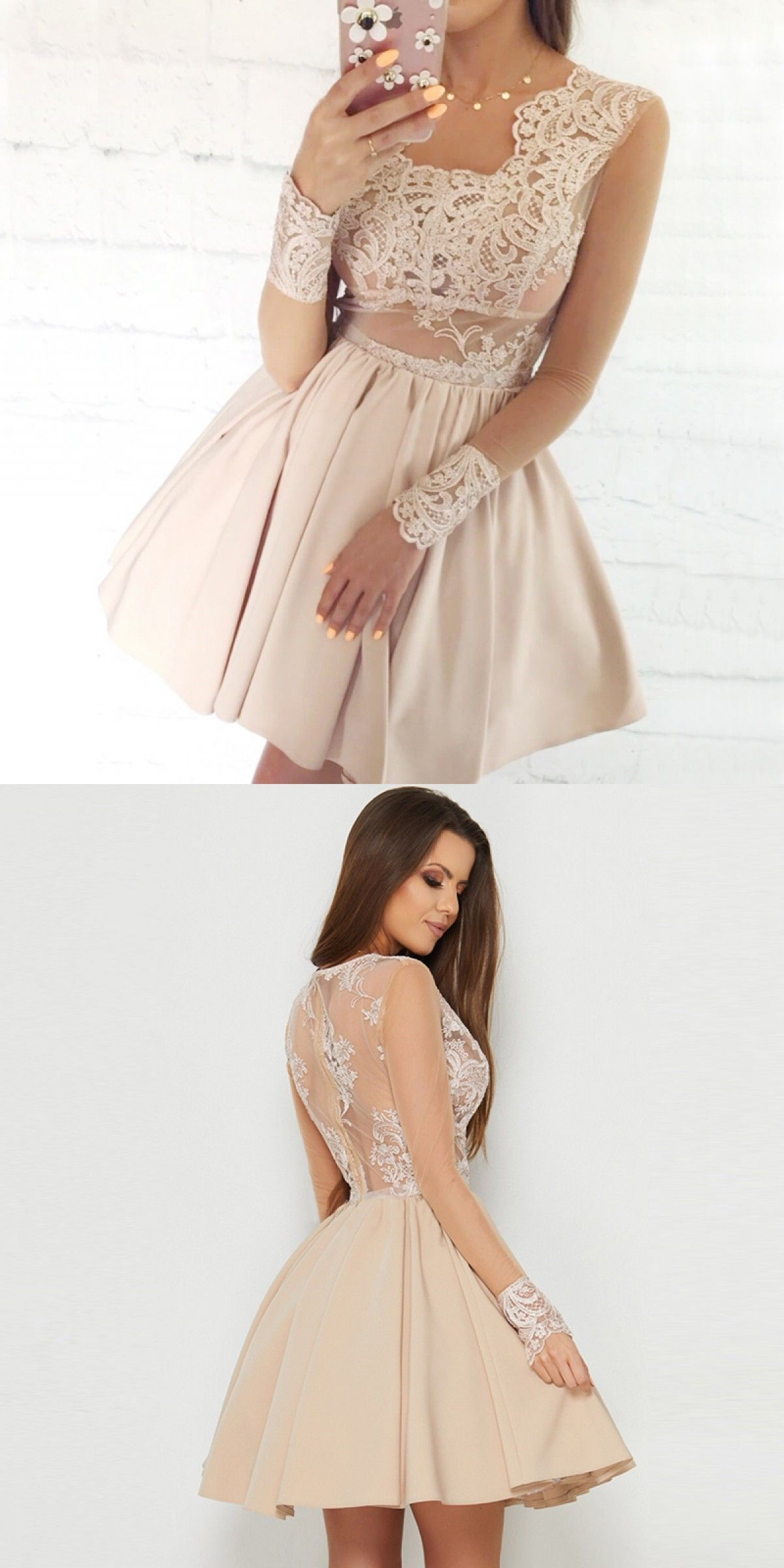 Elegant Homecoming Dress With Lace Cute Hoco Dress With Long Sleeves Short Prom Party Dresses Homecomingdress Pr 15 Vestidos Vestidos Vestido Festa Curto [ 2400 x 1200 Pixel ]
