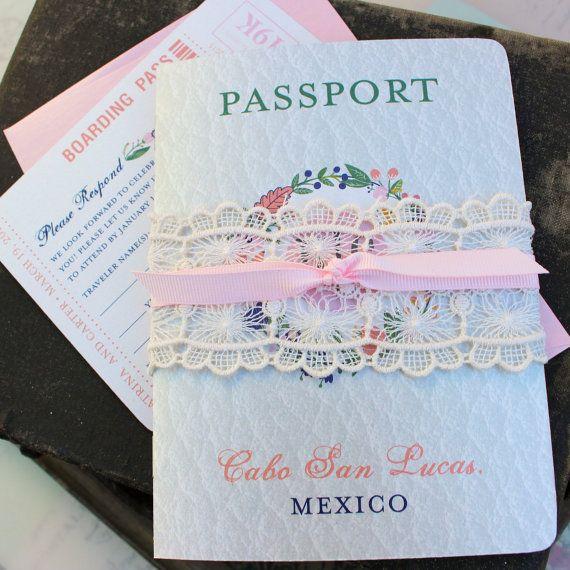 Floral Folk Art Passport Wedding Invitation (Cabo San Lucas, Mexico) - Design Fee