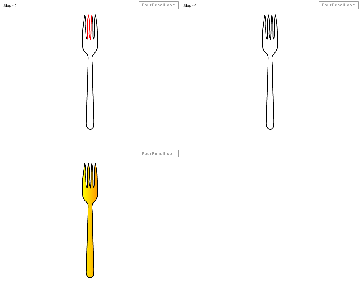 how to draw fork for kids step by step drawing tutorial draw fork