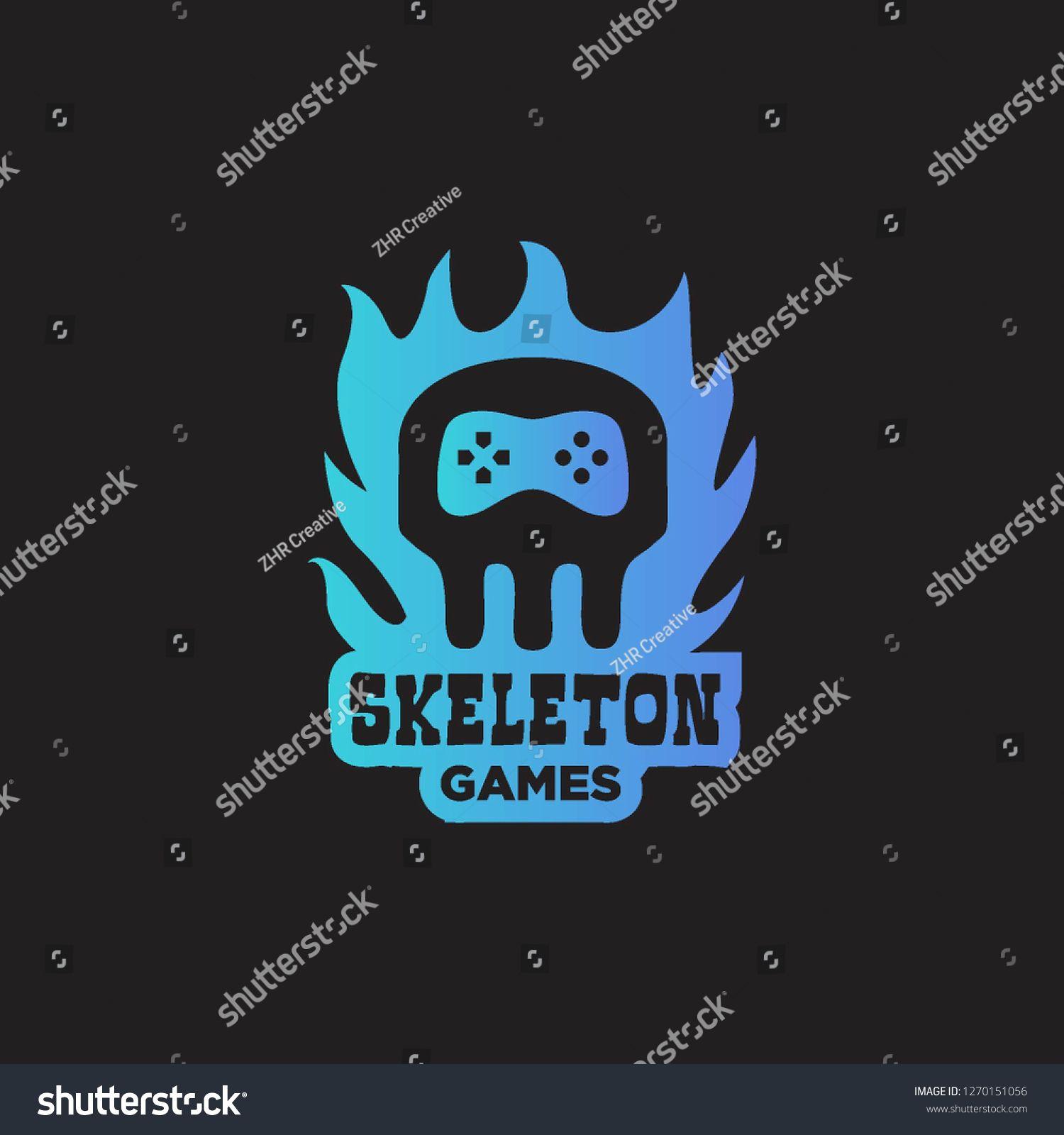 head bone skull skeleton with joystick game controller