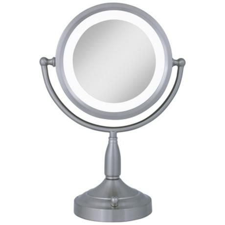Satin Nickel Dual Sided Magnified Lighted Makeup Mirror