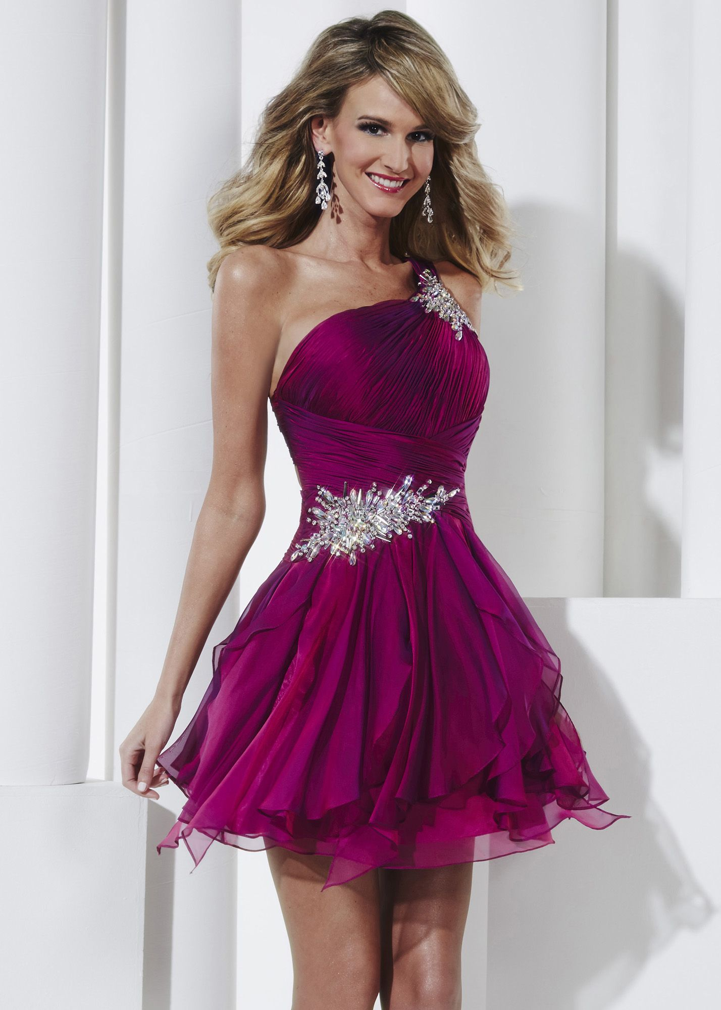 Shop now Hannah S. 27815 purple one shoulder beaded homecoming ...