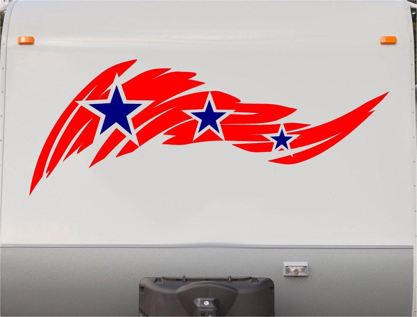 Usa flag stars and stripes rv camper 5th wheel motorhome vinyl decal sticker graphic custom text mural us011