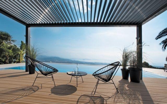 Ökologische Lösung-Überdachung Terrasse-Über Motorantrieb - mediterrane terrassenberdachung