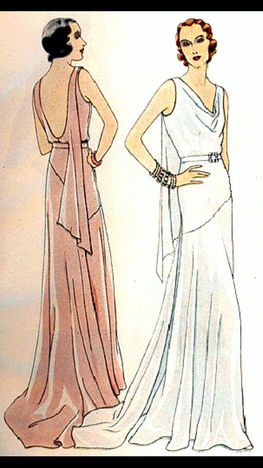 Sketch For Art Deco Dresses Art Deco Fashion Vintage Dresses Vintage Evening Gowns