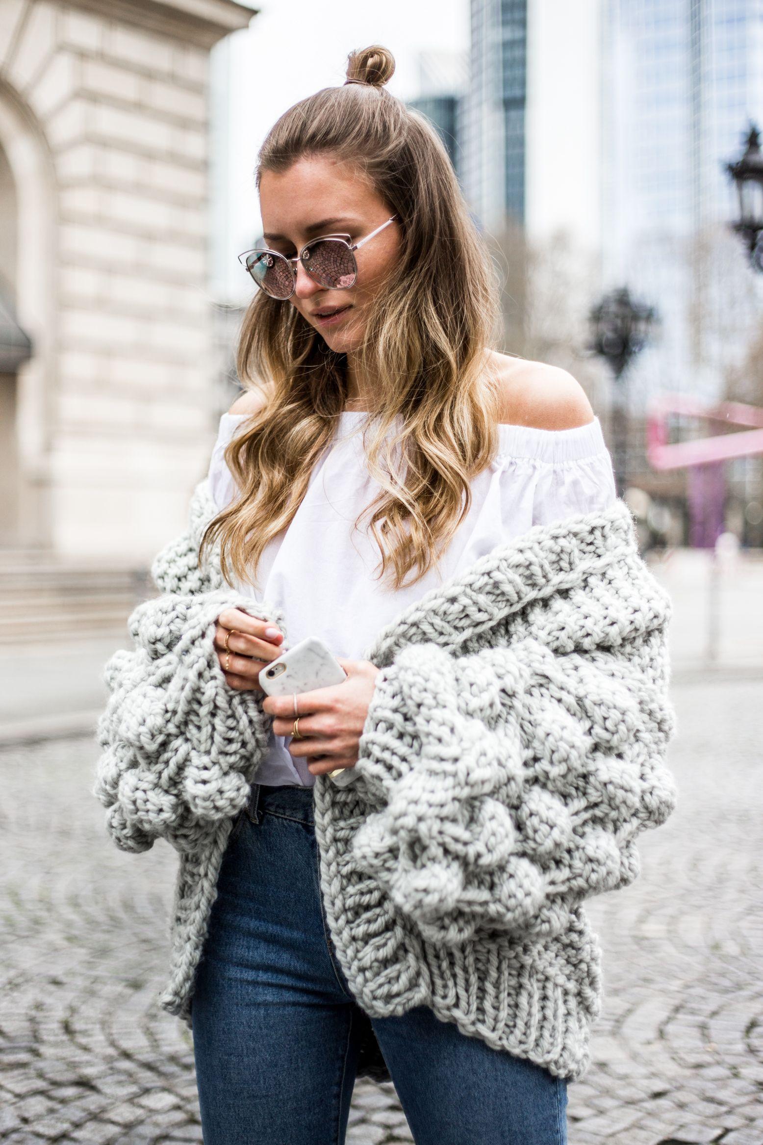 Chunky Pom Pom Knit Cardigan, Mumshandmade, Outfit, Casual, Livia Auer 42e4d6a46d9e
