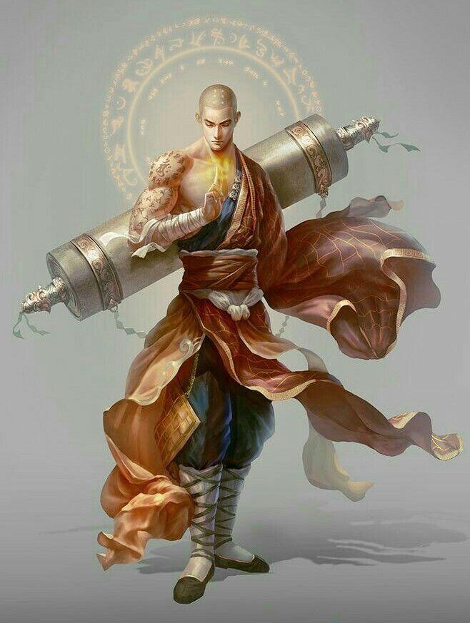 Monje Shaoling Samurai Rpg Personagens Masculinos Monstros