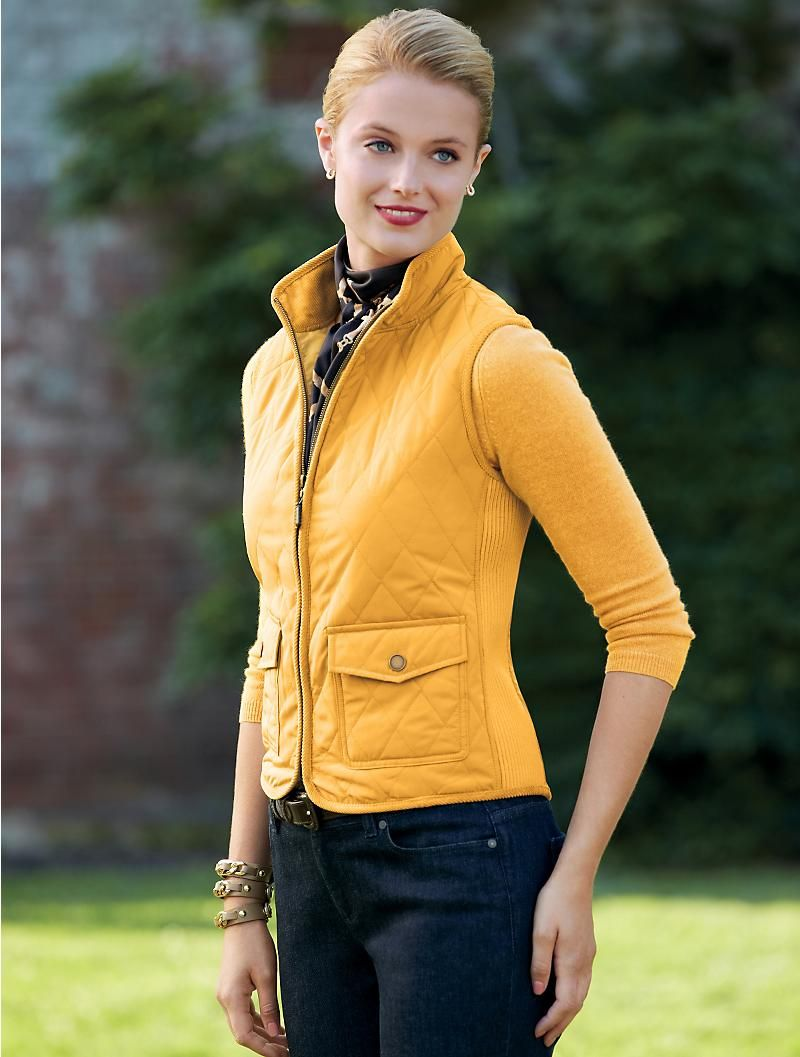Talbots Quilted Vest Outerwear Petites Classic Outfits Clothes For Women Fashion [ 1057 x 800 Pixel ]